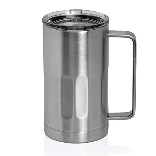 Stainless Steel Beer Mug with Lid  20 Ounce Double Walled Vacuum Insulated Beer Mug by Maxam  Shatterproof and Spill Resistant 1