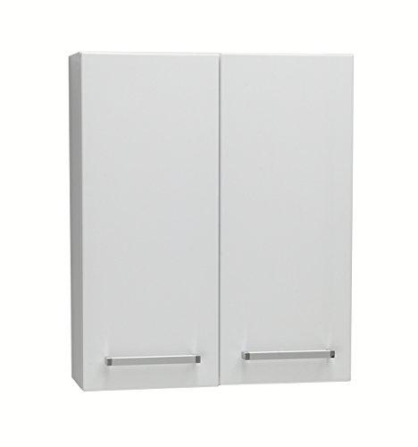 Quentis Bad-Hängeschrank, Breite 60 cm, Zwei Türen, weiß glänzend, Lieferung montiert, passend zu den Badmöbelserien Genua, Serena & ARUVA