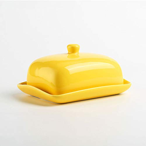 Butter Dish with lid - Ceramics Butter Container Perfect for East West Coast Butter, Ideal Gift for family & friends (Yellow)
