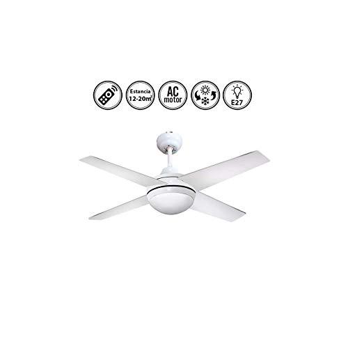 Lámpara Ventilador de Techo Color Blanco con Mando a Distancia. 4 Aspas Blanca. 1xE27. 112 cm Diámetro. Control Remoto