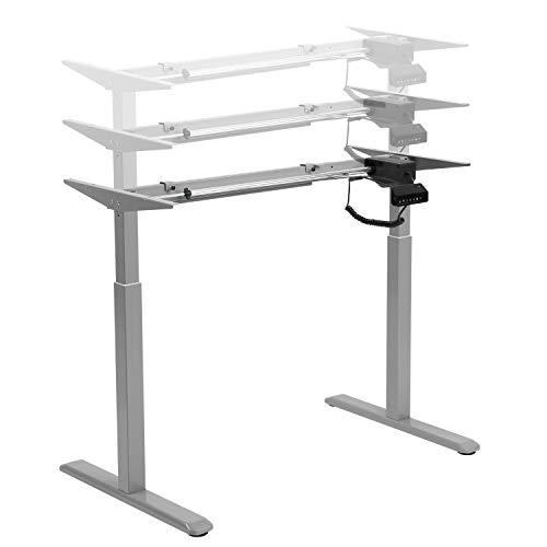 HOKO® Ergo-Work-Table Höhenverstellbarer Schreibtisch, Tischfüße Comfort Grau, elektrisch höhenverstellbar. Arbeiten im Sitzen und im Stehen! Memory Speicher Steuerung und Erinnerungsfunktion.