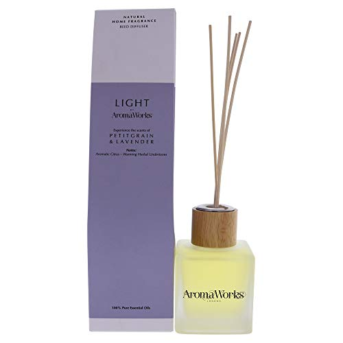 AromaWorks Light Petitgrain and Lavender Reed Diffuser - Aromatic Citrus, Warming Herbal Undertones Aroma - 100% Pure Essential Oils from around the Globe - Natural, Vegan, Cruelty Free - 3.4oz