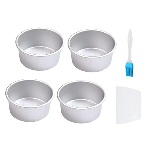 4 Inch Small Round Cake Pans Set of 4 , Aluminum Mini Cake Pans Non-Stick Cake Baking Molds With Removable Bottom For Kitchen Party Cake Baking,Silver