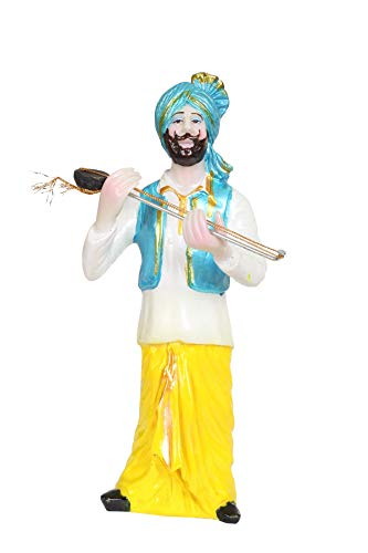 BS Handicrafts Polystone Punjabi Sardar Playing Tumbi Men Decorative Showpiece (Height 11 Inch)