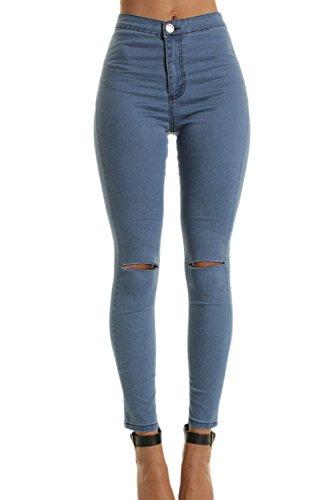 Damen Hohe Taille Dehnbar Skinny Jeans Hose Riss Löcher blau S