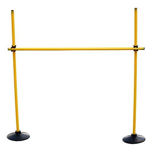 Boje Sport Sprungstangen-Set für effektives und vielseitiges Training - Sprungkraft, Dribbling und Beweglichkeit - (3 Stangen, 2 Vollgummistandfüße, 2 Clips), Gelb, One Size – VG120yc