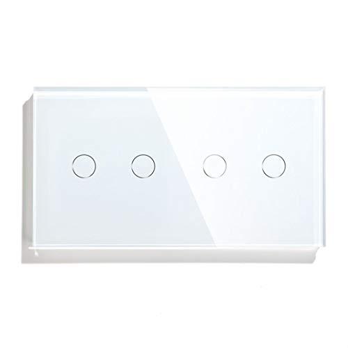 BSEED Interruptor de Luz Inteligente Alexa Interruptor de Luz De Pared Táctil WIFI Doble 2 Gang 1 Vía (Se Requiere Corriente Neutra) Panel de Vidrio Compatible con Alexa/Tuya/Google Home 157*86 Blanco