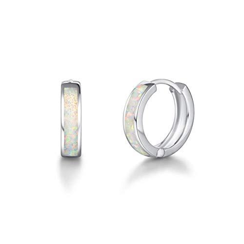 Solide 925 Sterling Silber Damen Creolen Huggies Klein Ohrringe mit Synthetisch Weiß Opal Oktober Geburtsstein Basic Minimalist Schmuck Geschenk für Damen Mädchen - Durchmesser: 14 mm
