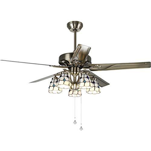 Ventilador De Techo Moderno Con Luz Americana techo de la sala abanico de hojas de hierro de luz con lámparas de cristal y 5 del cable de control del ventilador eléctrico de la lámpara, 42'/ 52' Vent