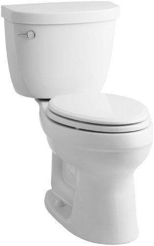 KOHLER K-3609-0 Cimarron Comfort Height Elongated 1.28 gpf Toilet with AquaPiston Technology, Less Seat, White
