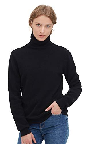 LilySilk Kaschmirpullover Rollkragenpullover Pullover Pulli Damen Mode Kaschmir Verpackung MEHRWEG Schwarz L