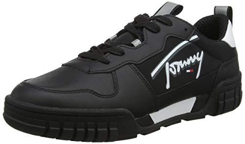 Tommy Hilfiger Tommy Jeans Signature Sneaker, Zapatillas para Hombre, Black 990, 44 EU