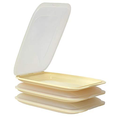 ENGELLAND - Hochwertige stapelbare Aufschnitt-Boxen, Frischhaltedose für Aufschnitt. Wurst Behälter. Perfekte Ordnung im Kühlschrank, 3 Stück Farbe Beige, Maße 25 x 17 x 3.3 cm
