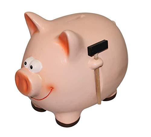 ARTECSIS Sparschwein mit Hammer Rosa Schwein aus Keramik für Münzen und Scheine (XXL)