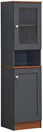 Hodedah 63 Tall Slim Open Shelf Plus Top and Bottom Enclosed Storage Kitchen Pantry Grey Oak product image