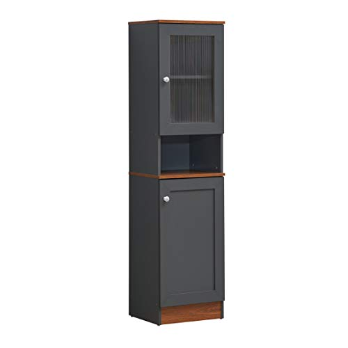 Hodedah 160 cm hohes flaches offenes Regal Plus oberer und unterer Aufbewahrungsmöglichkeit, Graueeiche Küche Speisekammer