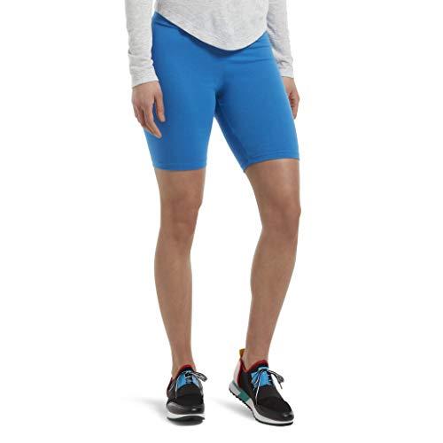 HUE Women's High Waist Blackout Cotton Bike Shorts, Assorted, Electric Blue, L