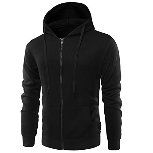 MENHG Mens Hoodies Sweatshirts Full Zip Drawstring Solid Color Hoody Hooded Top Fleece Long Sleeve Jacket Mens Winter Fleece Warm Pullover Running Gym Workwear Coats Cardigan With Kangaroo Pocket