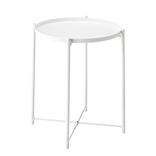 OUAPI Side End Table Folding Tray Metal End Table, Round Side Table, The Best Fan-Shaped Console for Your Home, White/Black, 16.33inch for Living Room Bedroom