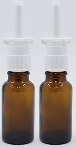Amber Glass Travel-Sized 20ml Empty Nasal Sprayers for Colloidal Silver and Saline Applications, 2-Pack - NO Labels