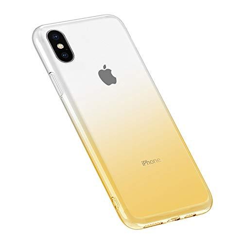 Oihxse Moda Lindo Cristal Case Compatible con Samsung Galaxy S10E Funda Silicona Gradiente de Color TPU Suave Carcasa Ultra-Fina Transparente Protectora Flexible Caso-Blanco Amarillo