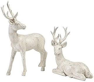 White Glittered Deer Figures - Set of 2