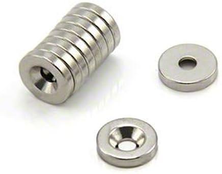Durchmesser d1: 13mm; Gewinde d2: M5 3 St/ück silber Ganter Normelemente GN 50.3-ND-13-M5 3-ND-13-M5-Haltemagnete mit Au/ßengewinde