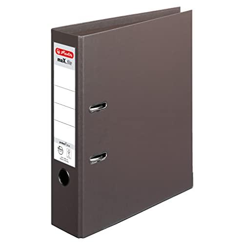 herlitz 10834463 maX.file protect - Archivador (A4, lomo de 8 cm, cubierta de polipropileno, 10 unidades), color marrón
