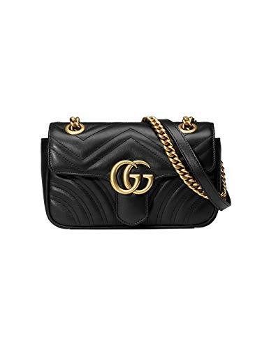 Gucci Luxury Fashion Donna 446744DTDIT1000 Nero Pelle Borsa A Spalla | Stagione Permanente