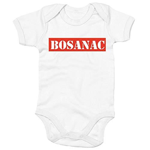 Shirtastic Baby Strampler Body - BOSANAC - Bosna Bosnien und Herzegowina Bosna i Herzegovina Balkan, Farbe:Weiss, Größe:62-68 (3-6 M)