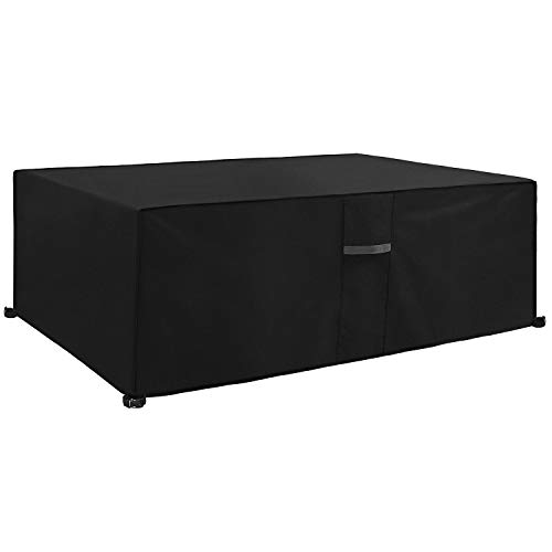 Dokon Garden Furniture Cover with Air Vent, Waterproof, Windproof, Anti-UV, Heavy Duty Rip Proof 600D Oxford Fabric Large Patio Set Cover, Garden Table Cover, Rectangular (270 x 180 x 89cm) - Black