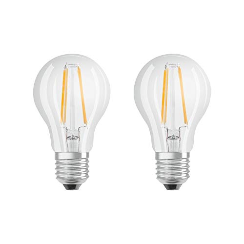 Osram LED Base Classic A Lampe, in Kolbenform mit E27-Sockel, nicht dimmbar, Ersetzt 60 Watt, Filamentstil Klar, Warmweiß - 2700 Kelvin, 2er-Pack