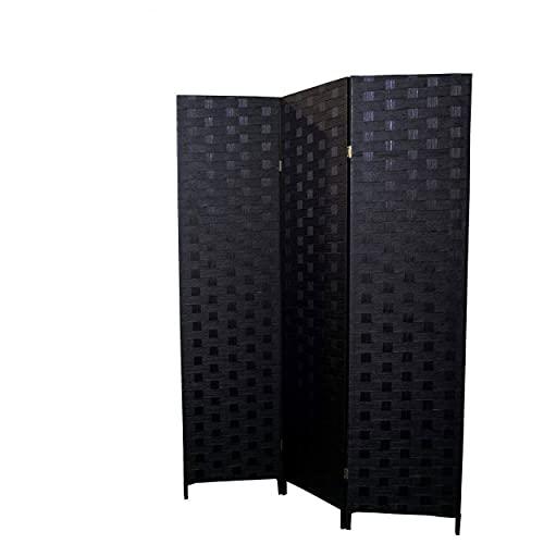 HOGAR Y MAS Biombo Separador de ambientes, Negro Trenzado Bambú Natural, 3 Paneles, para Dormitorio. 180x135