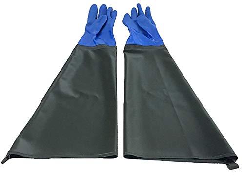 [TradeWind] ロンググローブ 長手袋 サンドブラスト厚手 防水 防寒 耐熱 作業用 メッキ加工 薬剤使用 消毒 清掃 農林水産 土木 BBQ (70cm)