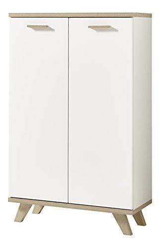 Germania 4053-221 Aktenschrank im skandinavischen Design GW-Oslo in Weiß/Absetzungen Sanremo-Eiche-Nachbildung, 75 x 122 x 37 cm (BxHxT)