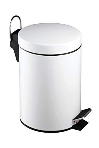 Premier Housewares 506422 Pattumiera a Pedale in Acciaio Inox, 3 L, Bianco