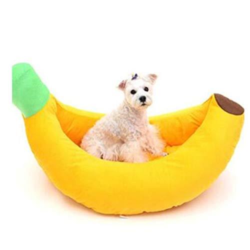 ZhuFengshop Zachte luxe huisdier kat bed huis - schattige banaan gevormd comfortabel zacht huisdier bed holt voor katten kleine huisdieren, katten lieve bed knuffelen (S, M, L, geel) kat, hond