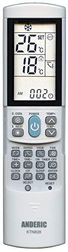 Anderic KTN828Universale Mini-Split condizionatore d' Aria Telecomando–Funziona Principali Marchi tra Cui Carrier, Trane, Toshiba, Sanyo, Mitsubishi, Fujitsu, Hitachi, LG, York, Panasonic, Sharp