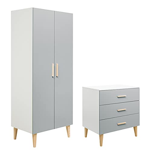 Commode à langer 3 tiroirs et armoire 2 portes Emma - Blanc et gris