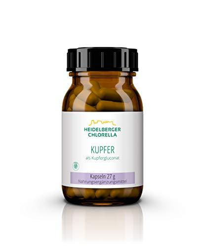 Heidelberger Chlorella – Kupfer Kapseln, vegan, organische Form Kupfergluconat, hochdosiert, gute Bioverfügbarkeit, hergestellt in Deutschland, 27 g, 60 Stück