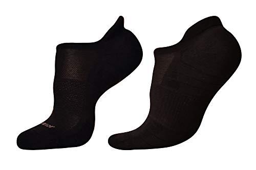 Woolrior Merino - Calcetines antiampollas para mujer, cojín, sin presentación, soporte de flecha, lana merino orgánica sin cloro (1 par), color negro, tamaño pequeño