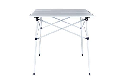Cao campingtafel met oprolbaar tafelblad van aluminium latten.