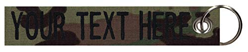 Northern Safari Army Navy Custom Name Tape Material Grommeted Crate/Luggage Tags Available in 2 Sizes, Over 50 Fabrics to Choose! Made in The USA. Ships Under 24 Hrs. American Camo Fabric