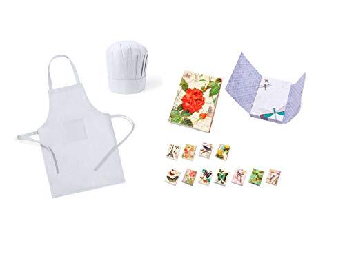 DISOK Lote de 25 Delantales + Gorros de Cocina Infantiles para Niños Blancos y 3 Blocs de Nota Mariposas - Delantales para Niños Juveniles