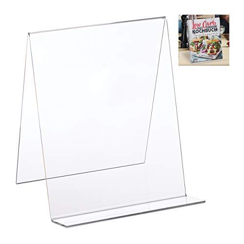 Relaxdays Atril Libros, Soporte Universal, DIN A4, Ligero y Resistente, Cocina, Acrílico, 24 x 20 x 20 cm, Transparente