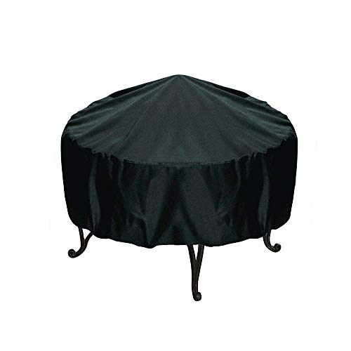 Black Patio Round Fire Pit Cover Waterproof UV Protector Grill BBQ Cover, Outdoor Garden BBQ Grill Cover, 2PCS,38x40cm