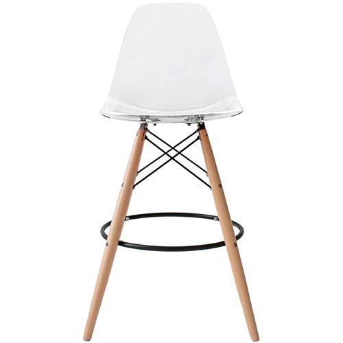 2xhome Eiffel Style Modern Mid Century Armless With Back Bar Stool Height Counter Chair With Natural Wood Legs, 28