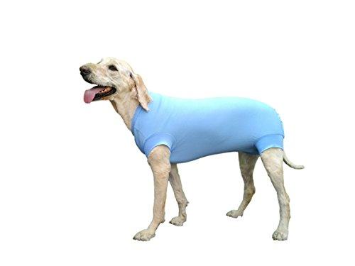Schutzkleidung für Wund- und Verbandsschutz nach einer Operation des Hundes, Hot Spots, Hautkrankheiten, E-Halsband Alternative für Hundewunden und Hunde nach Operationen, Größe 4XL, Blau