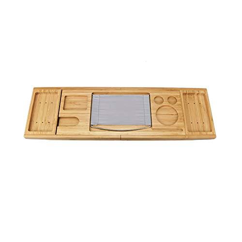 FANKUNYIZHOUSHI Badewannentablett aus Bambus für Dusche, Weinglas, Buchhalter, Badewannen-Regal, Unterstützung für Badezimmer, Aufbewahrung, Organisation, Badzubehör