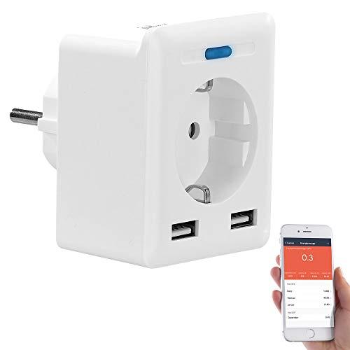 Luminea Home Control Zeitschaltuhr: WLAN-Steckdose, 2 USB-Ports, App, für Alexa, Google Assistant, Siri (WLAN-Steckdose Alexa kompatibel)